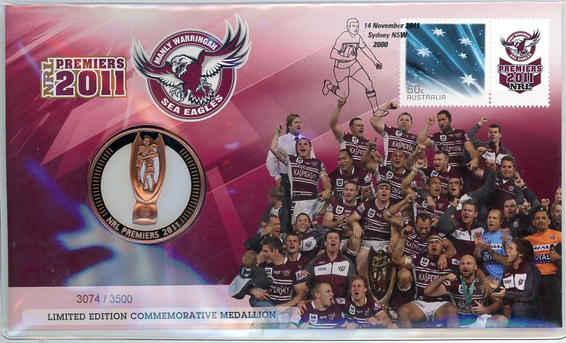 Thumbnail for 2011 NRL Premiers Medallic PNC - Manly Warringah Sea Eagles