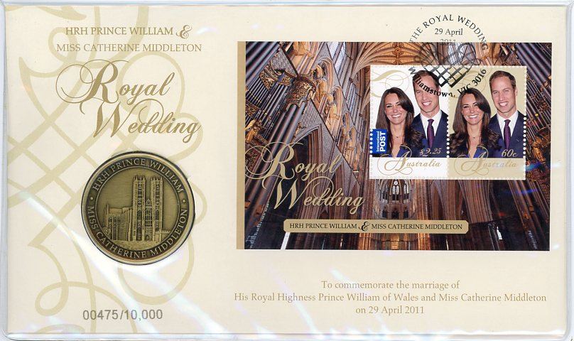 Thumbnail for 2011 Royal Wedding HRH Prince William & Catherine Middleton Medallic PNC