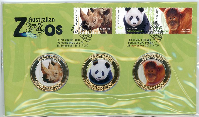 Thumbnail for 2012 Australian Zoos Medallic PNC - Black Rhino, Giant Panda & Orangutan