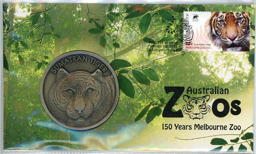 Thumbnail for 2012 Australia Zoos Medallic PNC - Sumatran Tiger