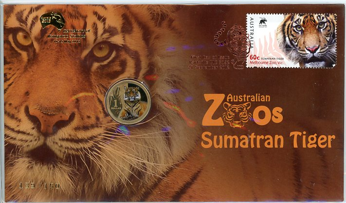 Thumbnail for 2012 Issue 10 Australian Zoos Sumatran Tiger - Gold Foil Overprint 139-150