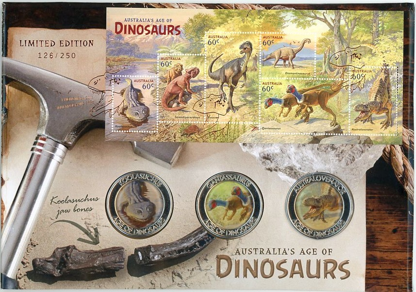 Thumbnail for 2013 Australia's Age of Dinosaurs Medallic PNC - Limited Edition 126-250