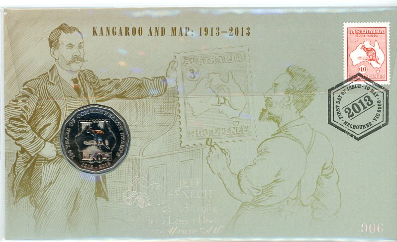 Thumbnail for 2013 Issue 05 Kangaroo and Map - Jeff Fenech Overprint 006