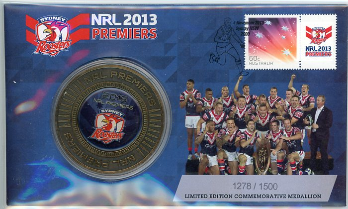 Thumbnail for 2013 NRL Premiers Medallic PNC - Sydney Roosters