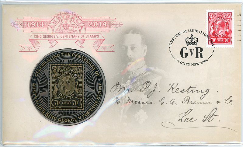 Thumbnail for 2014 King George V Centenary of Stamps Medallic PNC
