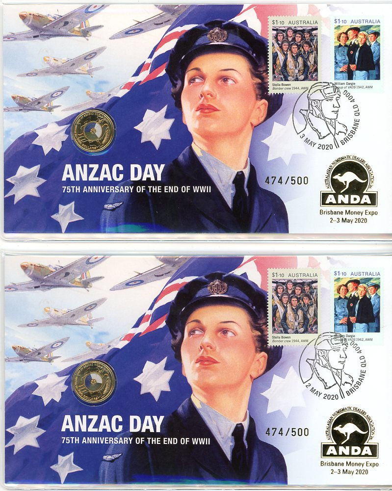 Thumbnail for 2020 ANZAC Day End Of WWII  Brisbane ANDA MOney Expo PNC Pair - Matching Numbers