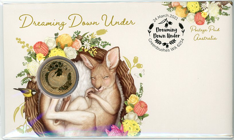 Thumbnail for 2021 Issue 15  - Dreaming Down Under - Kangaroo Joey PNC with Perth Mint $1