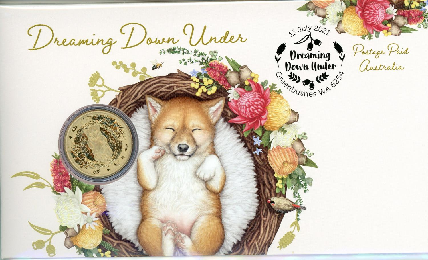 Thumbnail for 2021 Issue 30 - Dreaming Down Under - Dingo Pup PNC with Perth Mint $1 - Limited to 6,000