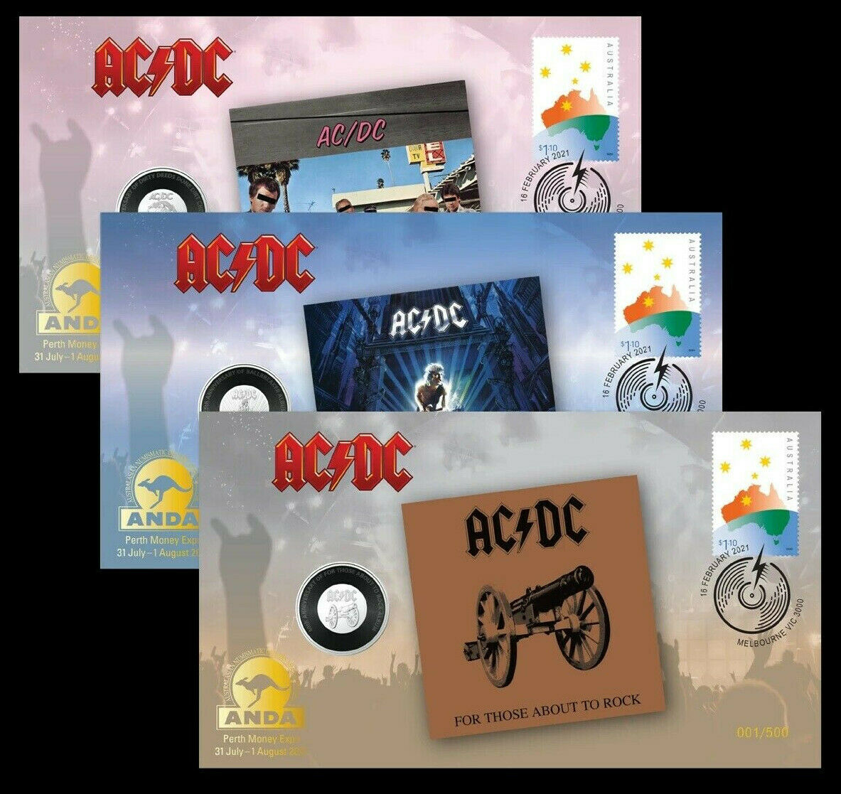 Thumbnail for 2021 ANDA Perth Money Expo - AC DC PNC Cover Trio Set