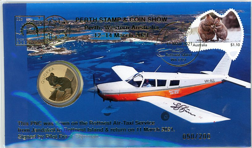 Thumbnail for 2021 Quokka PNC Flown from Jandakot to Rottnest Island & Return by Rottnest Air-Taxi Service &  Signed By Pilot - Perth Stamp & Coin Show