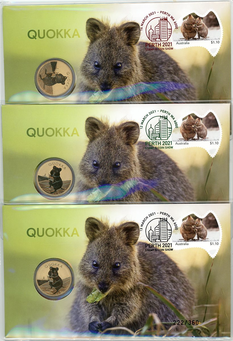 Thumbnail for 2021 Quokka PNC Perth Stamp & Coin Show Complete Set of Three Dated 12-13-14 March Individually (Red Black Green Postmarks)