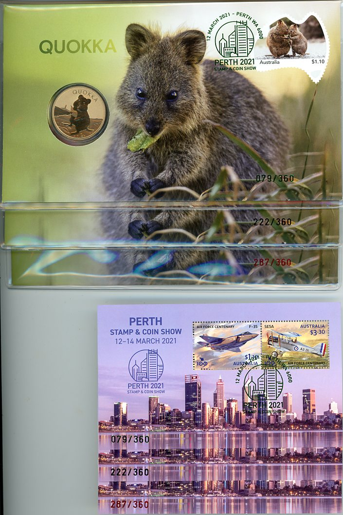 Thumbnail for 2021 Quokka PNC's & Mini Sheets with Matching Numbers - Perth Stamp & Coin Show 12-14 March 2021