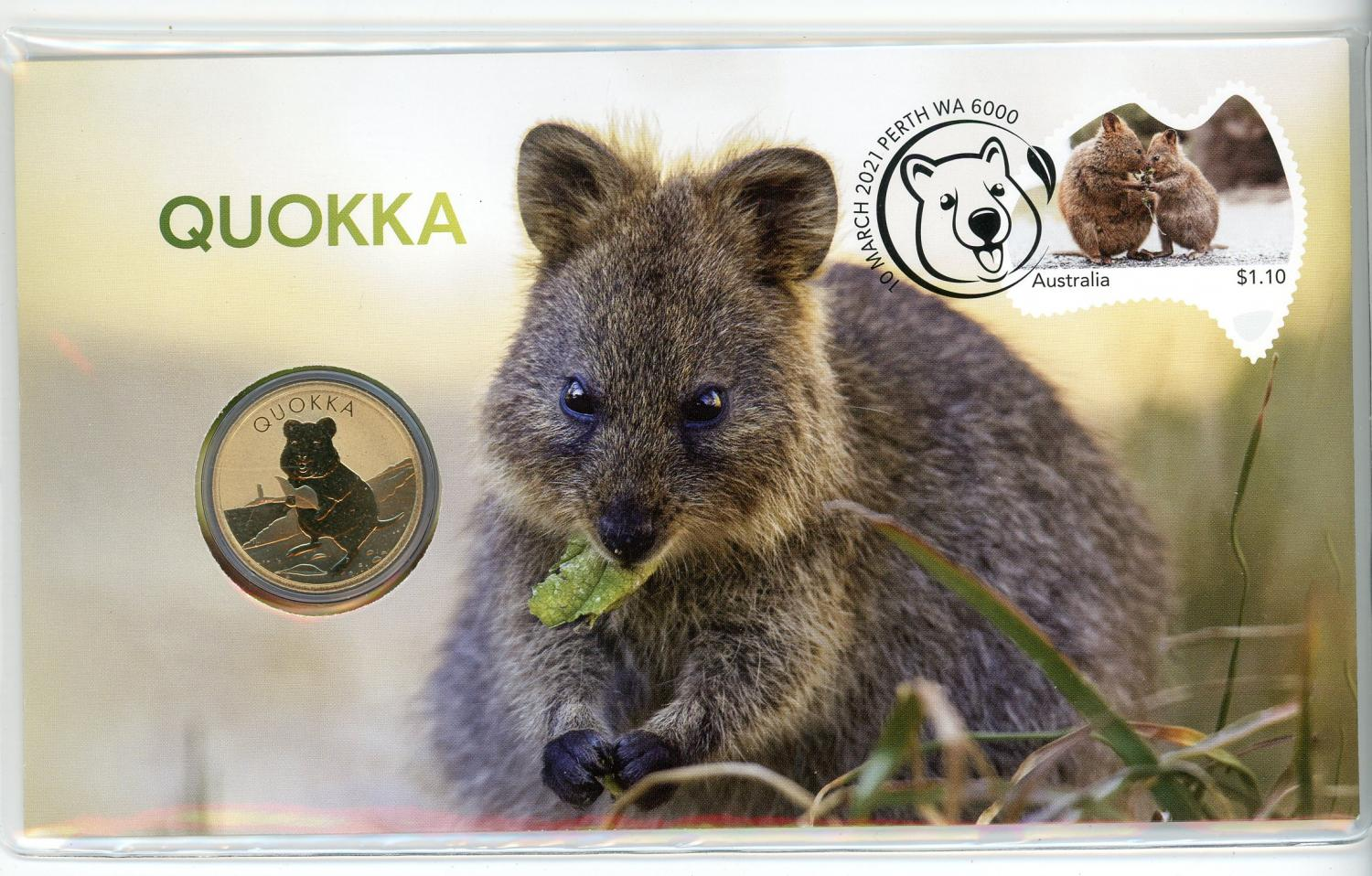 Thumbnail for 2021 Issue 14 Quokka PNC with Perth Mint Quokka $1 Coin - 2021