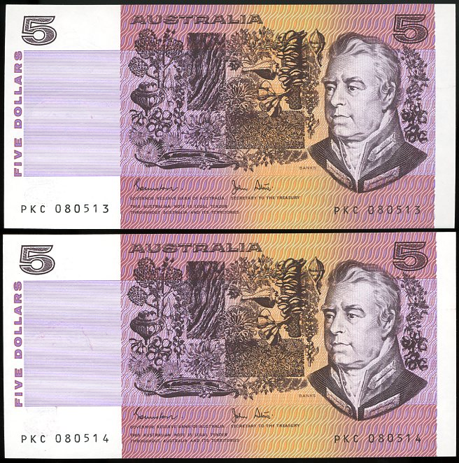 Thumbnail for 1983 Pair Johnston Stone $5 PKC 080513-14 UNC