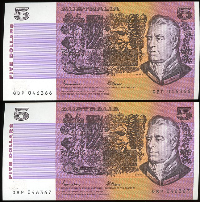 Thumbnail for 1985 Pair Johnston Fraser $5 OCRB Serials QBP 046366-67 UNC