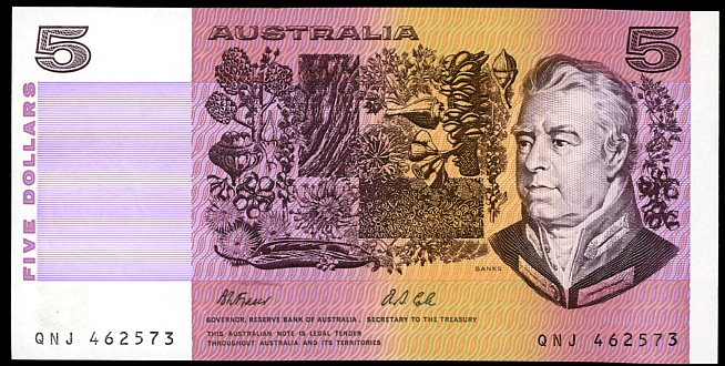 Thumbnail for 1991 $5 Fraser-Cole QNJ 462573 UNC