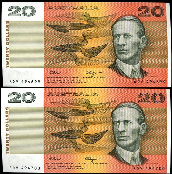 Thumbnail for 1990 Pair Fraser Higgins $20 RDV 494699-700 UNC