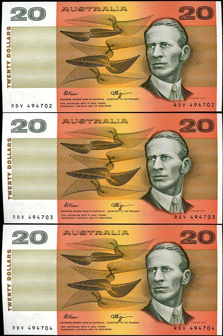 Thumbnail for 1990 Trio Fraser Higgins $20 RDV 494702-04 UNC