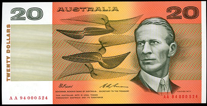 Thumbnail for 1994 $20 Fraser-Evans Red Serials AA94 000524 UNC