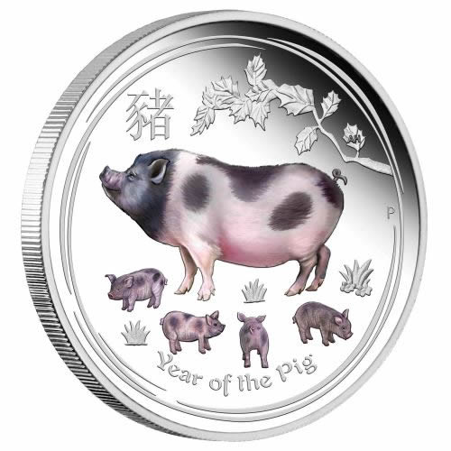 Thumbnail for 2019 Australian Lunar Year of the Pig 2oz Coloured Silver Coin ANDA Issue
