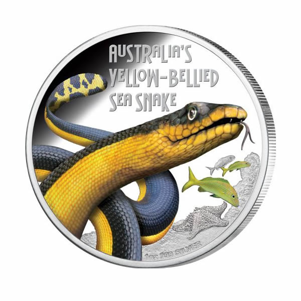 Thumbnail for 2013 Tuvalu Australian Yellow Bellied Sea Snake 1oz Coloured Silver Proof