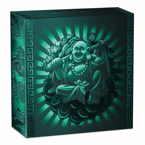 Thumbnail for 2019 Laughing Buddha 1oz Silver Antiqued Coin with Jade Buddha