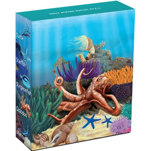 Thumbnail for 2012 Australian Sea Life Half oz Coloured Silverproof - Octopus