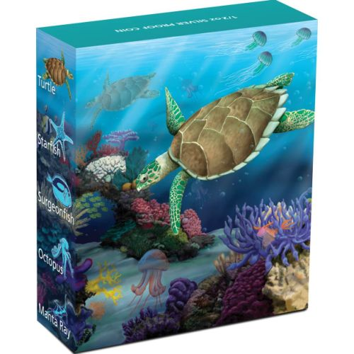 Thumbnail for 2011 Australian Sea Life Half oz Coloured Silverproof - Hawksbill Turtle