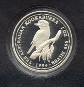 Thumbnail for 1994 1oz Silver Proof Kookaburra in Leather Wallet