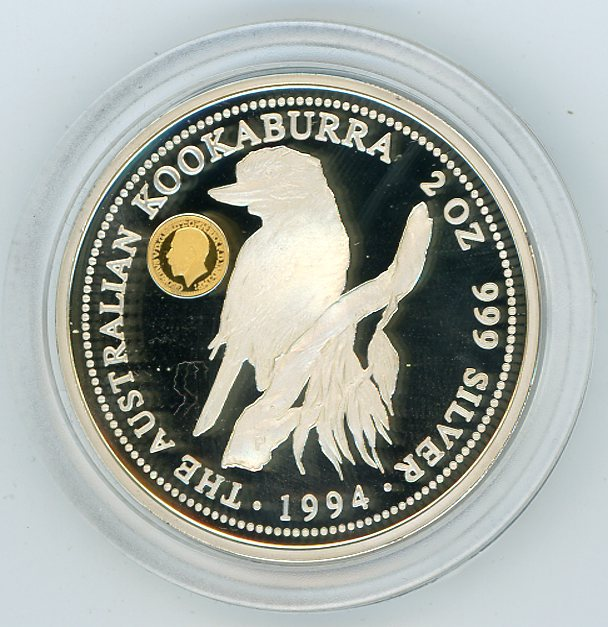 Thumbnail for 1994 2oz Kookaburra Proof with King George V Small Head Gold Privy