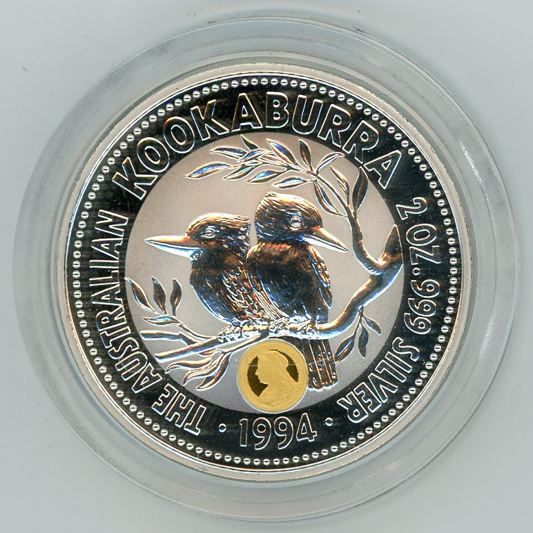 Thumbnail for 1994 2oz Kookaburra Specimen with Veiled Head Gold Privy