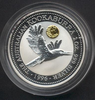 Thumbnail for 1996 2oz Silver Kookaburra with Star Pagoda Gold Privy Mark