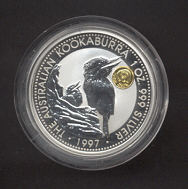 Thumbnail for 1997 1oz Silver Proof Kookaburra with Panda Gold Privy Mark
