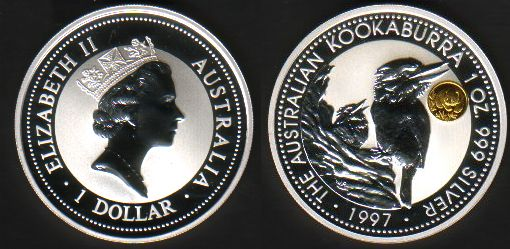 Thumbnail for 1997 Australian 1oz Silver Coin Kookaburra - Panda Privy Mark