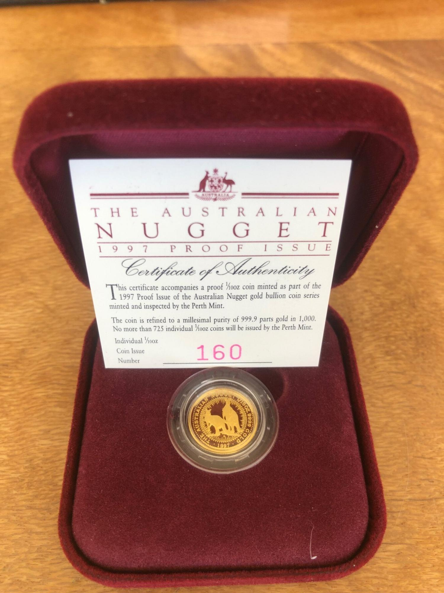 Thumbnail for 1997 One Tenth oz Australian Nugget Gold Proof Coin - Kangaroo