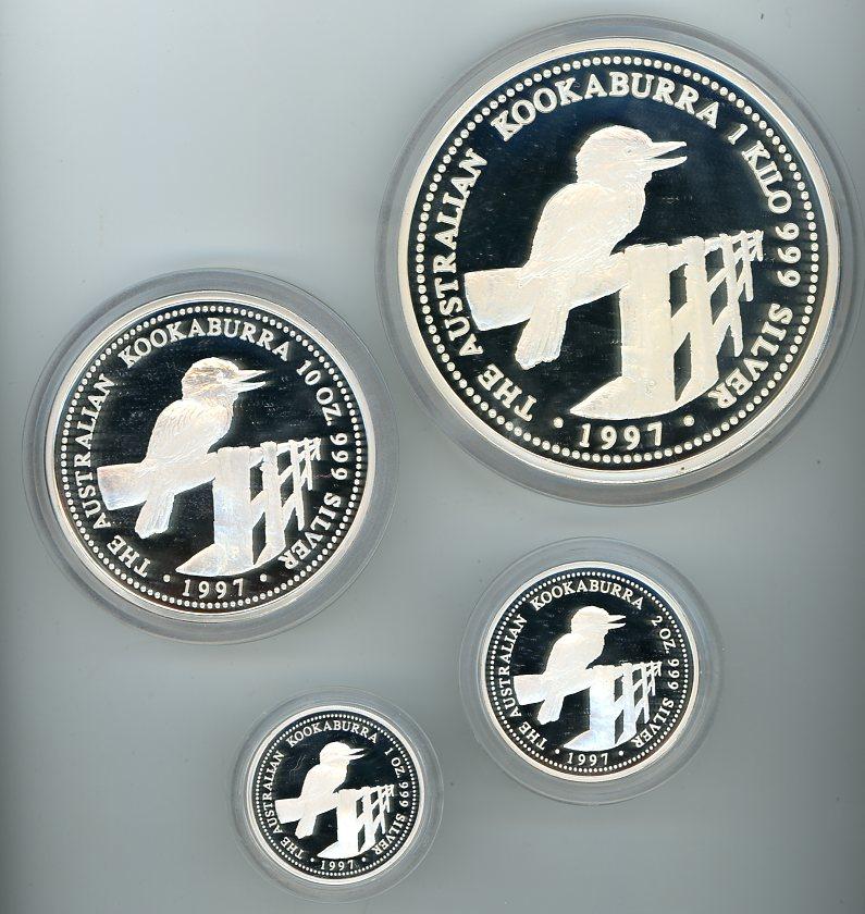 Thumbnail for 1997 Kilo Kookaburra Four Coin Proof Set -1kg, 10oz, 2oz, & 1oz