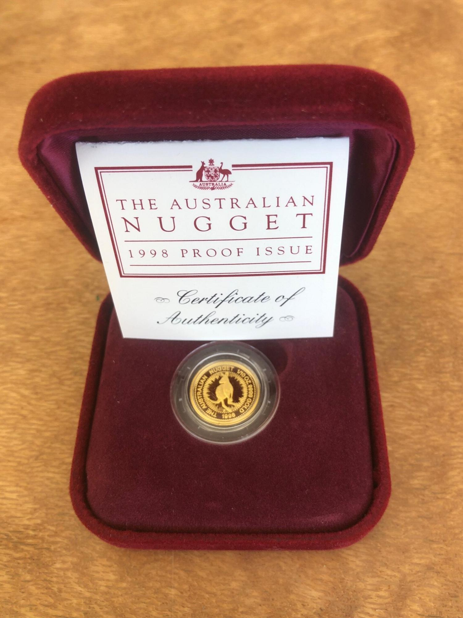 Thumbnail for 1998 One Tenth oz Australian Gold Nugget Proof Coin - Kangaroo