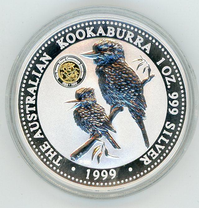 Thumbnail for 1999 1oz Silver Kookaburra - Centenary Sovereign Gold Privy Mark