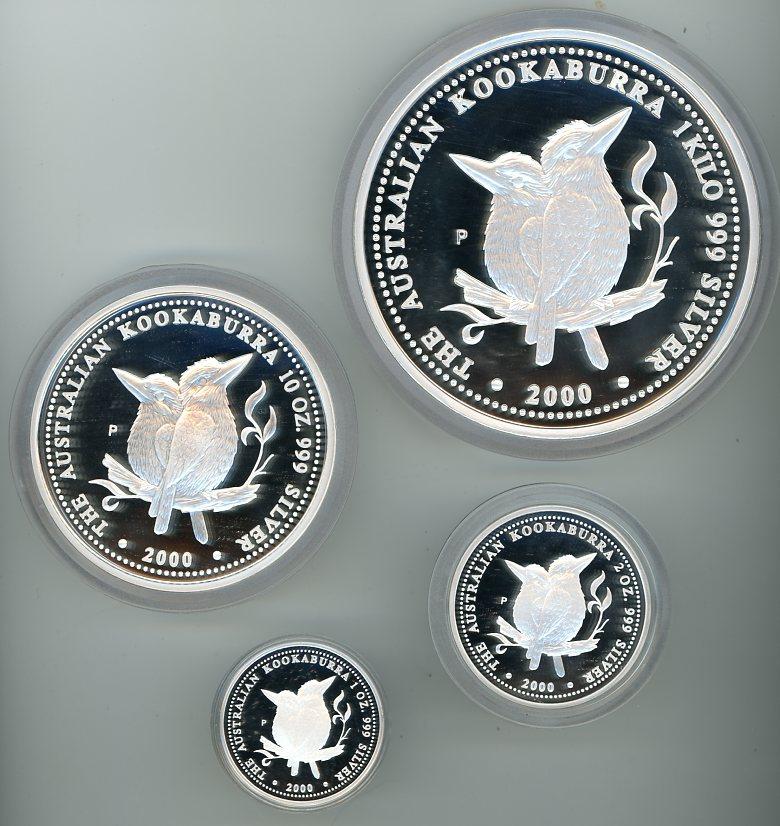 Thumbnail for 2000 Kilo Kookaburra Four Coin Proof Set - 1kg, 10oz, 2oz & 1oz