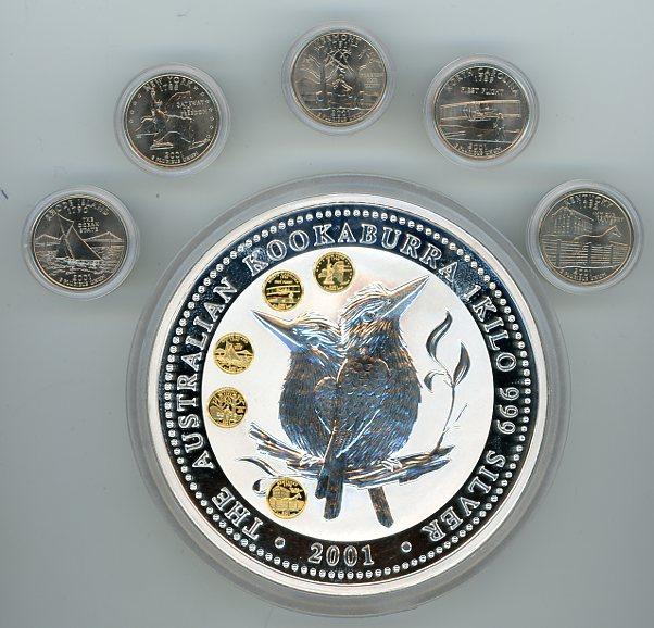 Thumbnail for 2001 One Kilo Australian Kookaburra Honor Mark Coin - US State Quarters