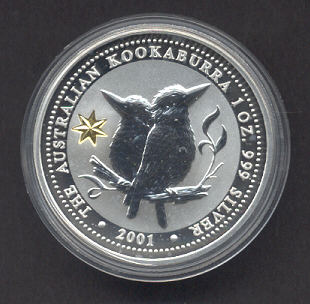 Thumbnail for 2001 1oz Kookaburra Silver Coin - Centenary of Federation Gold Privy Mark