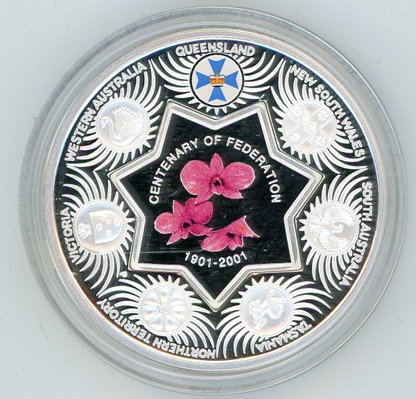 Thumbnail for 2001 Australian Silver 1oz Coloured Proof - State Series Queensland