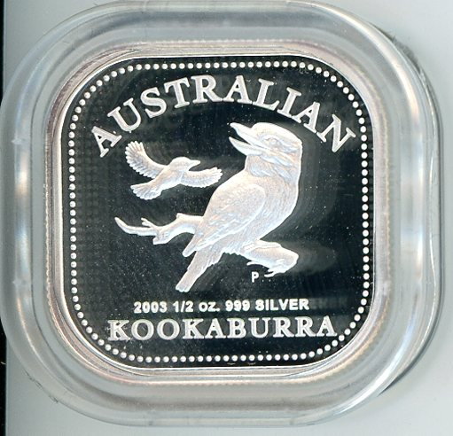 Thumbnail for 2003 Australian Half Ounce Square Kookaburra Proof Coin