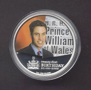 Thumbnail for 2003 1oz Coloured Silver Proof Coin - HRH Prince William of Wales 21st Birthday