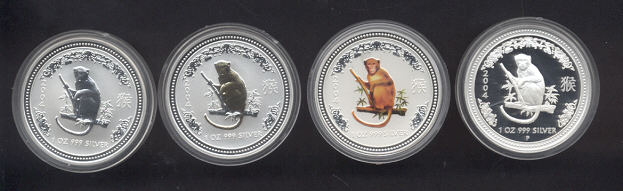 Thumbnail for 2004 Australian Lunar Silver Coin Series I - Year of the Monkey Type Set