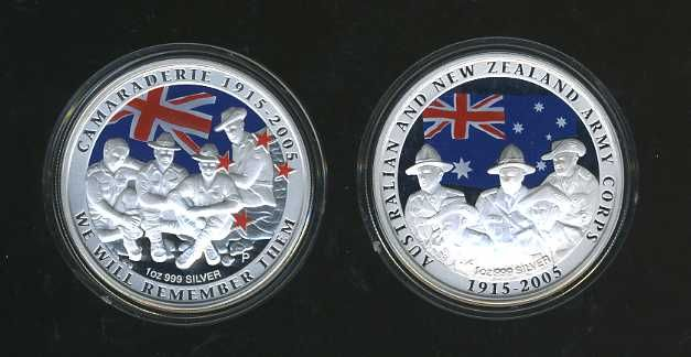 Thumbnail for 2005 90th Anniversary of ANZAC Coloured Silver Two Coin Set