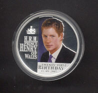 Thumbnail for 2005 Prince Henry of Wales 21st Birthday Coloured 1oz Silver Proof Coin
