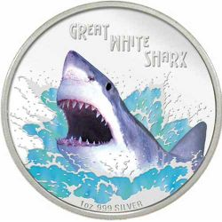 Thumbnail for 2007 Tuvalu Great White Shark 1oz Coloured Silver Proof