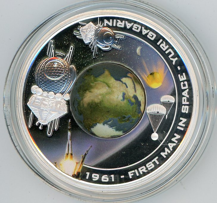 2008 First Man In Space 1 Oz Silver Coin Cook Islands