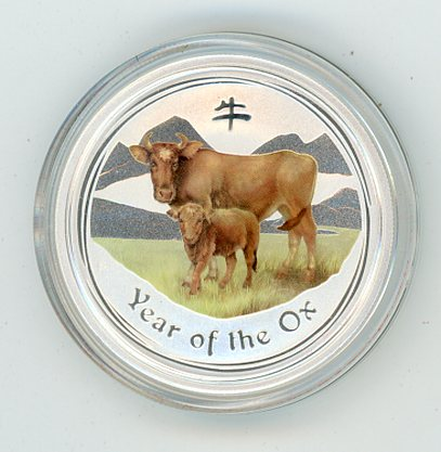 Thumbnail for 2009 Australian Year of the Ox Half oz Coloured Silver Coin